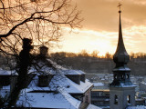 Snow-Covered Rooftops and Tower of Johann Am Imberg with Ridge of Monchsberg