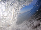 Surfer&#39;s Perspective Looking Out Barrel of Wave  at Popular Surfing Beach Playa Aserradores