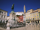 Tartinijev Square with Statue of Violist Giuseppe Tartini and Cathedral of St George