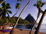 Palm Trees and Fishing Boats on Soufriere Beach with One of the Pitons in the Background