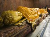Pilgrims Placing Scarves on 6M Recumbent Statue of Dying Buddha in Parinivarna Temple