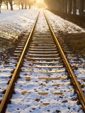 Train Tracks in Snow in Winter