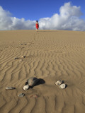 Woman Walking on Sand Dune in Maspalomas Dunes (Dunas De Maspalomas)