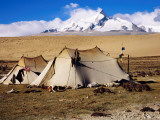 Drokpa (Nomad) Tents in Front of Mt Shishapangma on Road from Saga to Nyalam