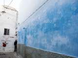 Cool Blue Colour Adorning Wall Deep Within Meknes Medina