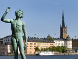 "Bronze Statue ""Sangen"" Outside Stockholm City Hall (Stadshuset)"