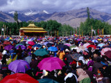 Audience at Dalai Lama Sermon and Zansker Range in Distance  Choglamsar