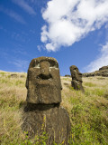 Moai Heads on Inner Crater Slopes of Rano Raraku