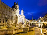 Fontana Del Moro and Church of Sant&#39;Agnese in Agone at Piazza Navona