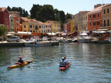 People in Kayaks Approaching Veli Losinj Harbour