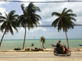 Motorcyclist Driving by Northern Coast of Ko Samui