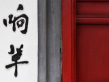 Door Detail with Chinese Character at Ngoc Son Temple (Jade Mountain Temple)