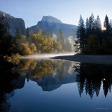 Autumn Sunrise  Half Dome  and the Merced River