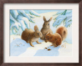 Rabbits and Squirrel in Snow