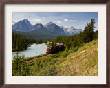 Freight Train Travelling on Morant's Curve Through Banff National Park  Alberta  Canada