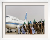 Libyan Camel Riders Holding Flags of Arab Countries Welcome Kuwaiti Airplane Carrying the Emir