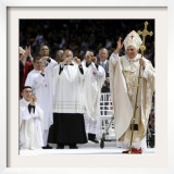 Pope Benedict XVI Acknowledges the Crowd as He Arrives for a Mass