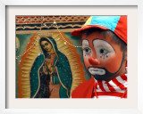 Young Clown  &quot;Bolillito &quot; Stands Next to an Image of the Virgin of Guadalupe in Mexico City
