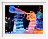 Visitors Admire Ice Sculptures in an Exhibition in Roevershagen
