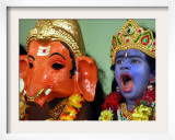 A Child Dressed as Hindu God Krishna Yawns  Chennai  India  September 22  2006