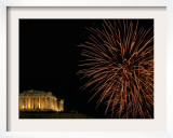 Fireworks Illuminate the Ancient Parthenon Atop the Acropolis Hill