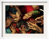 Christian Girls Paint their Hands with Henna Paste in Preperation for Easter Holiday in Pakistan