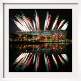 Fireworks over Bird's Nest  2008 Summer Olympics  Beijing  China