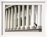 A Man Peers from Between Columns of the City Courthouse in Campos  Brazil