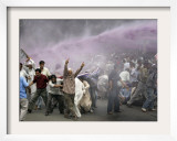 Kashmiri Transporters Shout Amidst Tear Gas Smoke and Colored Water at a Protest in Srinagar  India