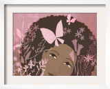 Woman Against Pink Background with Pink Flowers and Butterflies