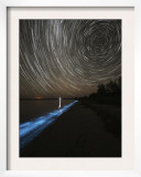 Star Trails over Bioluminescence in Waves on the Shores of the Gippsland Lakes  Australia