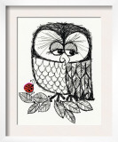 Retro Black and White Owl with Ladybug
