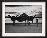 World War II  Soldier Beside WWII Airplane at Sunrise  Early 1940s