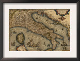 1570 Map of Italy from Abraham Ortelius Atlas  Theatrvm Orbis Terrarvm