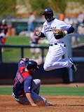 Cleveland Indians v San Diego Padres  PEORIA  AZ - MARCH 13: Orlando Hudson and Matt LaPorta
