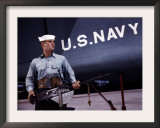 Sailor Holds a 30 Caliber Machine Gun at the Naval Air Base  Corpus Christi  Tx  1942