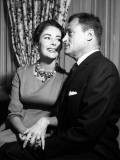 Elizabeth Taylor with Husband Mike Todd Showing Off Her Diamond Ring  April 1957