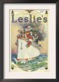 Leslie's  Father Christmas Santa Claus Ships Cruises Magazine  USA  1914