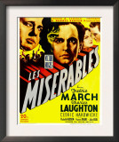 Les Miserables  Charles Laughton  Fredric March on Window Card  1935