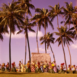 Hula Dancers Dancing Honolulu Hawaii Palm Trees Natives Retro