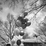 Bunch of Balloons Outdoors  Low Angle View