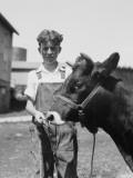 Teenage Farm Boy Wearing Bib Overalls  Holding Jersey Bull
