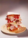 Dagwood Sandwich Stuffed With Meat  Cheese and Salad