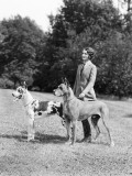 Young Woman  Two Great Dane Dogs on a Leash