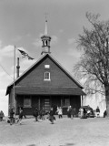 Rural One Room Schoolhouse  Group of Children at Recess