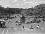 People Walking Around Bethesda Fountain in Central Park  New York