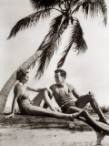 Smiling Couple Man Woman Under Palm Tree Bathing Suits Florida