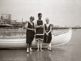 Man and Two Women Posing in Bathing Suits  in Front of Boat  in Atlantic City