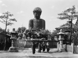 Group of Japanese Woman at Base of Daibutsu Buddha Statue  Near Kobe  Hyogo