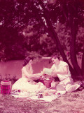 Teenage Couple Having Summer Picnic By Stream